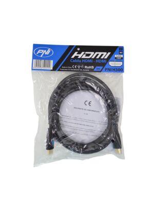HDMI-Kabel PNI H300 High-Speed 1,4 V, steckbar, Ethernet, vergoldet, 3 m